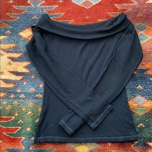 Black Zara Off-Shoulder Knit Long Sleeve